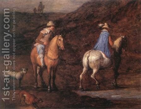 Travellers on the Way [detail: 1] by Jan The Elder Brueghel - Reproduction Oil Painting