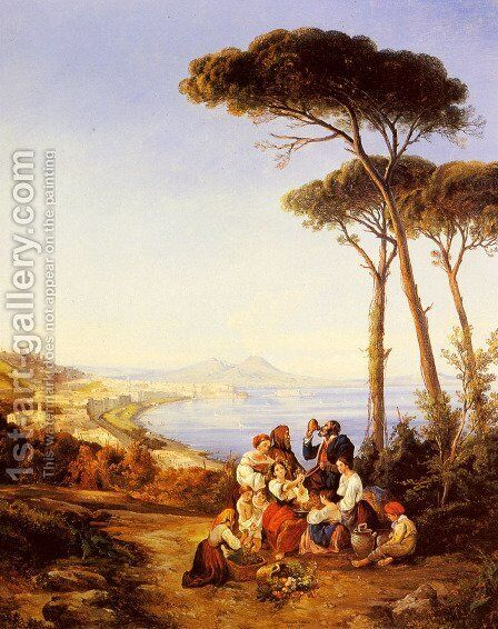 A Group Of Peasants With The Bay Of Naples Beyond by Consalvo Carelli - Reproduction Oil Painting
