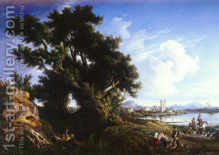 Landscape Near Naples With The Isle Of Capri In The Distance by Consalvo Carelli - Reproduction Oil Painting