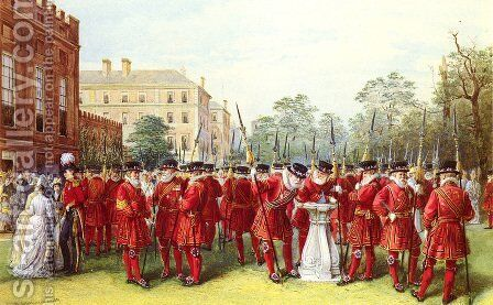 The Parade Of The Yeomen Of The Guard At Clarence House by Nicholas Chevalier - Reproduction Oil Painting