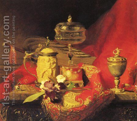 A Still Life With Iris And Urns On A Red Tapestry by Blaise Alexandre Desgoffe - Reproduction Oil Painting