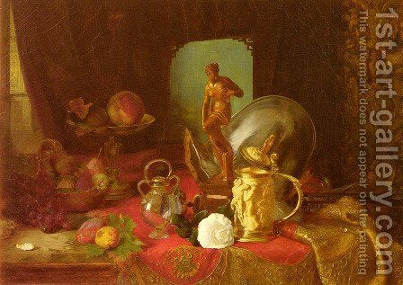 A Still Life with Fruit, Objets d'Art and a White Rose on a Table by Blaise Alexandre Desgoffe - Reproduction Oil Painting