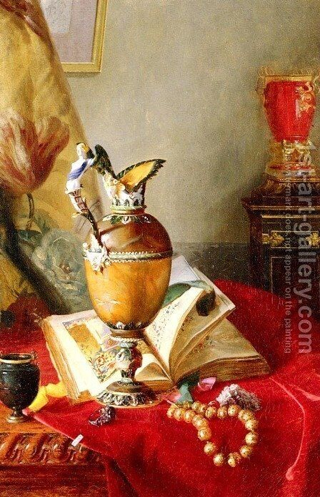 A Still Life With Urns And Illuminated Manuscript On A Draped Table by Blaise Alexandre Desgoffe - Reproduction Oil Painting