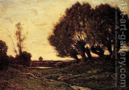A Wooded Landscape With A Stream by Henri-Joseph Harpignies - Reproduction Oil Painting
