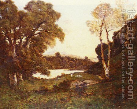 Goats Grazing Beside A Lake At Sunset by Henri-Joseph Harpignies - Reproduction Oil Painting