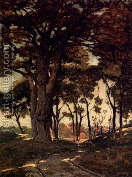 Wooded Landscape With A Cart Path by Henri-Joseph Harpignies - Reproduction Oil Painting