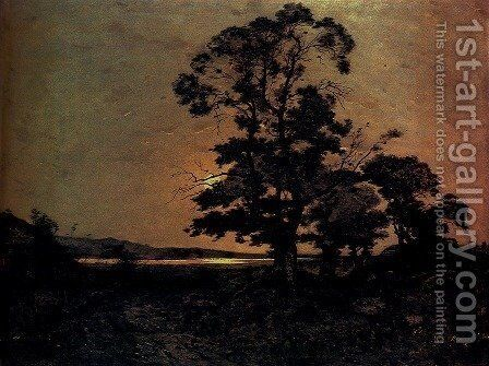 Moonlight On The Loire by Henri-Joseph Harpignies - Reproduction Oil Painting