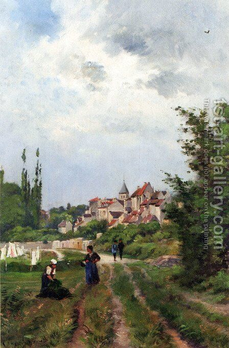 Washer Women_On A Sandy Track With A Village Beyond by Henri-Joseph Harpignies - Reproduction Oil Painting