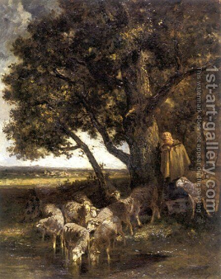 A Shepherdess with Her Flock by a Pool by Charles Émile Jacque - Reproduction Oil Painting
