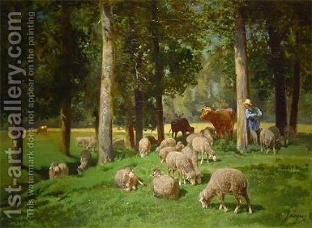 Landscape with Sheep by Charles Émile Jacque - Reproduction Oil Painting
