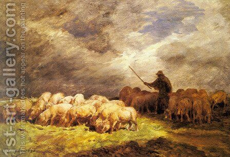 The Swineherd by Charles Émile Jacque - Reproduction Oil Painting