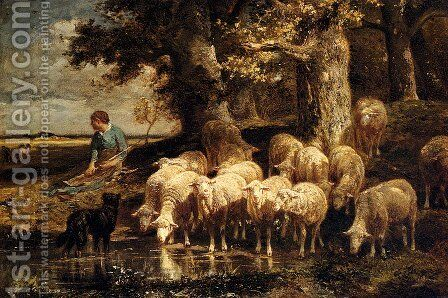 A Shepherdess With Her Flock by Charles Émile Jacque - Reproduction Oil Painting