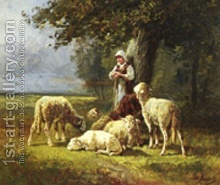 A Shepherdess With Her Flock In A Woodland Clearing by Charles Émile Jacque - Reproduction Oil Painting