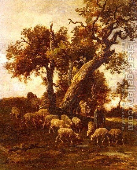 Sheep At Pasture by Charles Émile Jacque - Reproduction Oil Painting