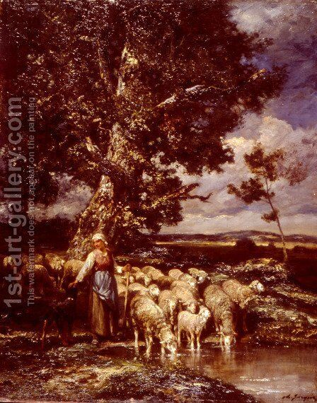 Shepherdess by Charles Émile Jacque - Reproduction Oil Painting