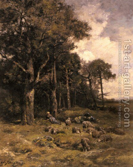 Shepherdess Resting With Her Flock by Charles Émile Jacque - Reproduction Oil Painting