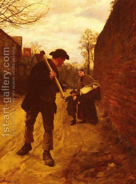Off To Work by Henry Herbert La Thangue - Reproduction Oil Painting