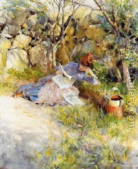 A Lady Reading a Newspaper by Carl Larsson - Reproduction Oil Painting