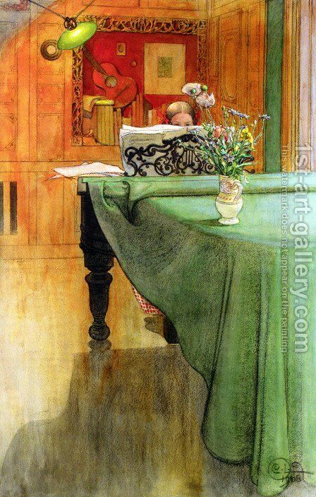 Brita Vid Pianot (Brita at the Piano) by Carl Larsson - Reproduction Oil Painting