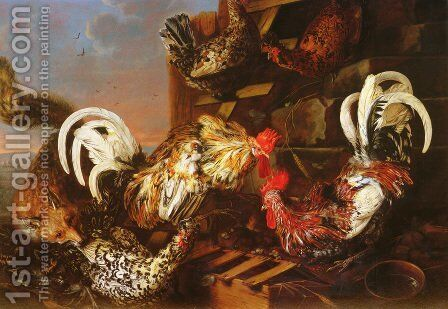 A Farmyard Scene with a Fox Attacking Bantams by Christian Luycks - Reproduction Oil Painting