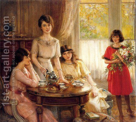 L'heure Du The by Albert Lynch - Reproduction Oil Painting