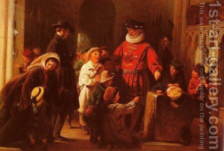 Children at the Tower by Henry Nelson O'Neil - Reproduction Oil Painting
