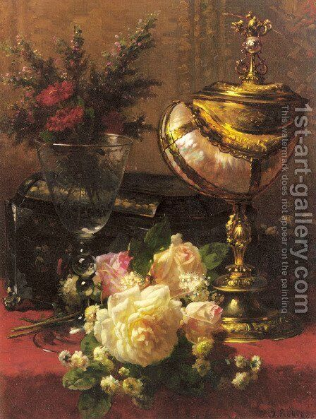 A Bouquet of Roses and other Flowers in a Glass Goblet with a Chinese Lacquer Box and a Nautilus Cup on a red Velvet draped Table by Jean-Baptiste Robie - Reproduction Oil Painting