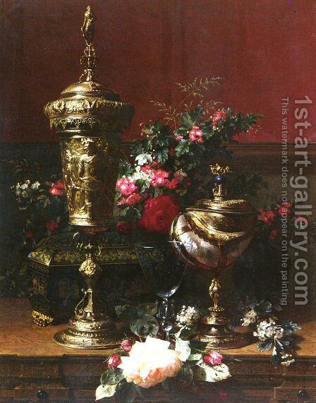 A Still Life With A German Cup, A Nautilus Cup, A Goblet An Cut Flowers On A Table by Jean-Baptiste Robie - Reproduction Oil Painting