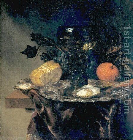 Still Life with Oysters by Abraham Hendrickz Van Beyeren - Reproduction Oil Painting
