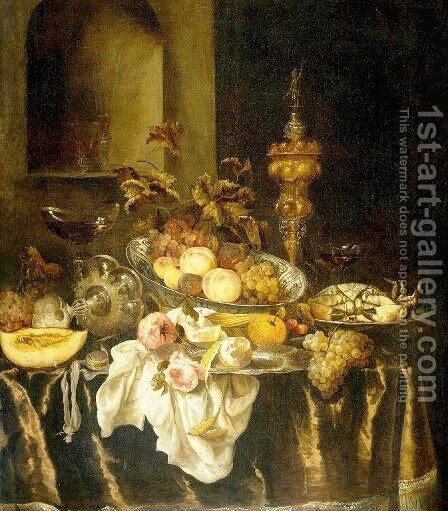 Still Life 4 by Abraham Hendrickz Van Beyeren - Reproduction Oil Painting