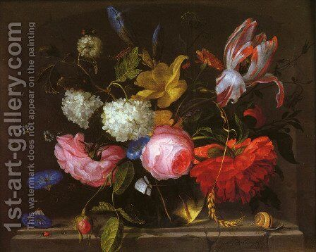 A Still Life by Jacob van Walscapelle - Reproduction Oil Painting
