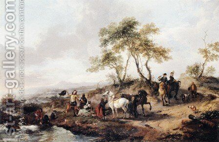 The Halt of the Hunting Party by Philips Wouwerman - Reproduction Oil Painting