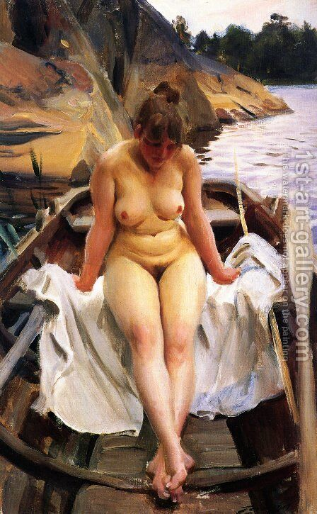 I Werners Eka (In Werner's Rowing Boat) by Anders Zorn - Reproduction Oil Painting