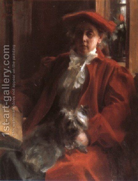 Emma Zorn och hunden Mouche (Emma Zorn and Mouche, the dog) by Anders Zorn - Reproduction Oil Painting