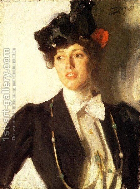 Martha Dana (or Mrs. William R. Mercer) by Anders Zorn - Reproduction Oil Painting