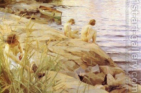 Ute (Out) by Anders Zorn - Reproduction Oil Painting