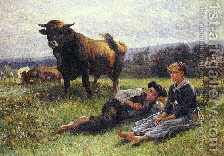 Herdsman's Repose by Edouard Bernard Debat-Ponsan - Reproduction Oil Painting
