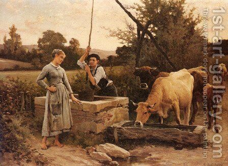 At the Well by Edouard Bernard Debat-Ponsan - Reproduction Oil Painting