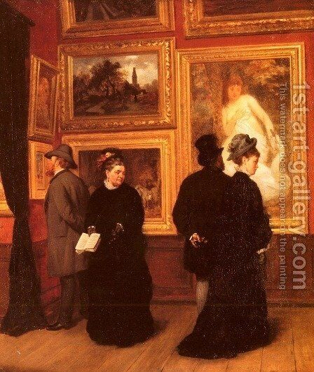 In The Picture Gallery by A. Muller-Schonhausen - Reproduction Oil Painting