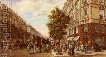 Boulevard Des Italiens (The Italian Boulevard) by B. Pafset - Reproduction Oil Painting