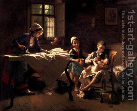 A Happy Family by Giovanni Battista Torriglia - Reproduction Oil Painting