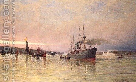 A View Of New York Harbor by Cornelis Christiaan Dommelshuizen - Reproduction Oil Painting