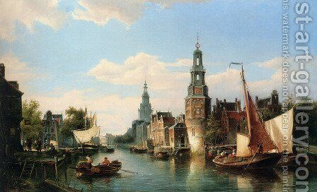 The Montelbaans Tower, Amsterdam by Cornelis Christiaan Dommelshuizen - Reproduction Oil Painting