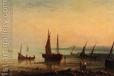 Fishermen By The Shore At Sunset by Herminie Gudin - Reproduction Oil Painting