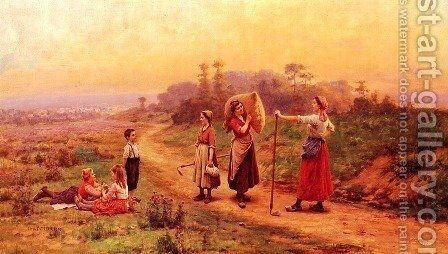 A Meeting On A Country Path by Cesar Pattein - Reproduction Oil Painting