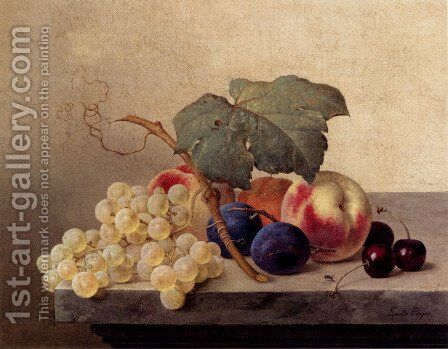 Still Life With Grapes, Peaches, Plums And Cherries by Emilie Preyer - Reproduction Oil Painting