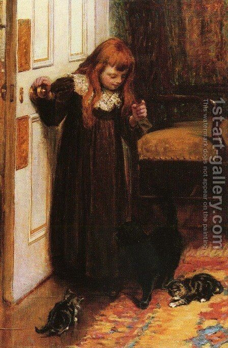 Playing with the Kittens by Edith Grey - Reproduction Oil Painting