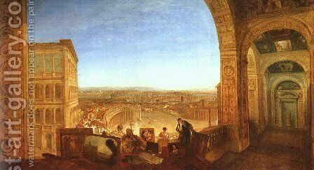 Rome from the Vatican (or Raffaelle accompanied by La Fornarina, preparing his pictures for the decoration of the Loggia) by Turner - Reproduction Oil Painting