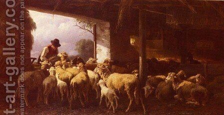 Feeding The Sheep by Christian Friedrich Mali - Reproduction Oil Painting
