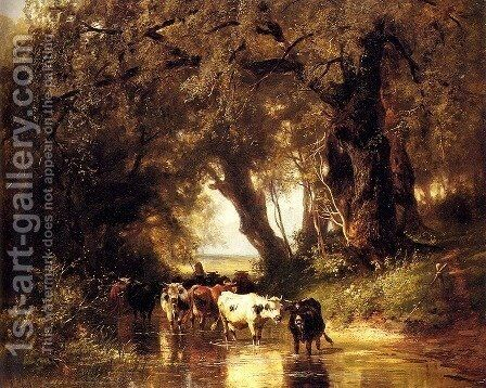 Cattle Watering by Christian Friedrich Mali - Reproduction Oil Painting